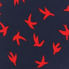 Tissu Crèpe Birdy rouge sur marine x 10cm