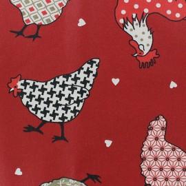 Tissu enduit coton Cotcot beige/rouge x 10cm