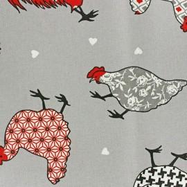 Tissu enduit coton Cotcot rouge x 10cm