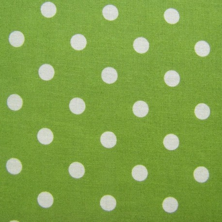 tissu pois blanc sur fond vert x 10cm ma petite mercerie. Black Bedroom Furniture Sets. Home Design Ideas