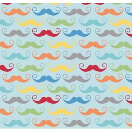 Tissu enduit Geekly Mustache Aqua x 10cm