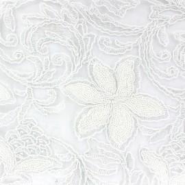Tissu Dentelle brodée à paillettes Zonder blanc x 10cm