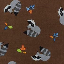 Tissu coton Forest day raton laveur fond marron x 10cm