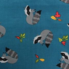 Tissu coton Forest day raton laveur fond bleu canard x 10cm