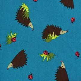 Tissu coton Forest day hérisson fond bleu canard x 10cm