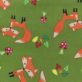 Tissu coton Forest day renard fond vert mousse x 10cm