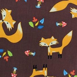 Tissu coton Forest day renard fond marron x 10cm