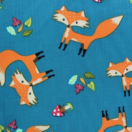 Tissu coton Forest day renard fond bleu canard x 10cm
