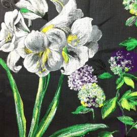 Tissu lin Grande Lys fond anthracite x 64 cm