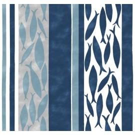 Tissu coton enduit Friture Marine / Gris x 10cm