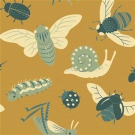 Tissu Toile de coton Bugs Gold - Coton biologique x 15 cm