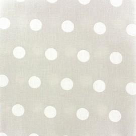 Tissu enduit coton pois blancs sur fond perle x 10cm