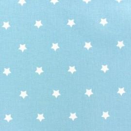 Tissu enduit Etoiles MAGIC  blanc / ciel x 10cm
