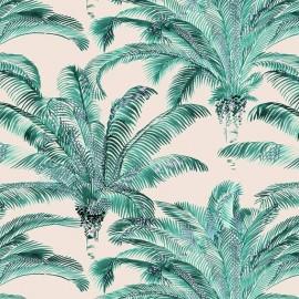 Tissu toile coton Bihia éméraude fond crème x 10cm