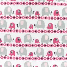 Tissu velours minkee ras Little and big elephant rose/gris x 10cm