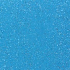 Tissu enduit paillettes turquoise x 10cm