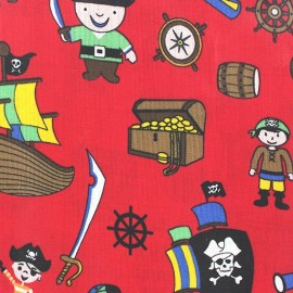 Tissu enduit coton Poppy Pacific Pirates rouge x 10cm