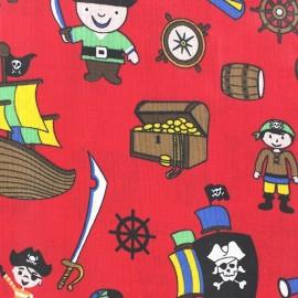Tissu enduit coton Poppy Pacific Pirates rouge x 10cm