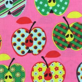 Tissu enduit coton Beautiful Apples rose x 10cm