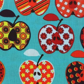 Tissu enduit coton Beautiful Apples bleu x 10cm