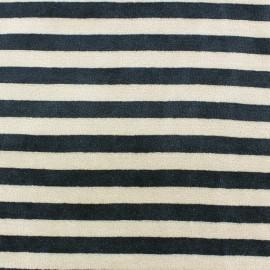 Tissu Velours éponge jersey Rayures noir/beige x 10cm