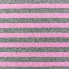 Tissu Velours éponge jersey Rayures rose/gris x 10cm