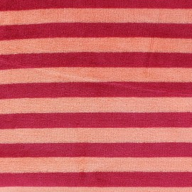 Tissu Velours éponge jersey Rayures rouge/orange x 10cm