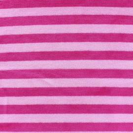 Tissu Velours éponge jersey Rayures fuchsia/rose x 10cm