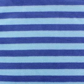 Tissu Velours éponge jersey Rayures bleu/ciel x 10cm