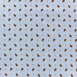 Tissu chambray Light Denim Paisley orange x 10cm