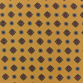 Tissu crèpe Lavallière fond moutarde x 10cm