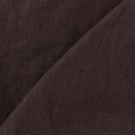 Tissu lin biologique marron x 10cm