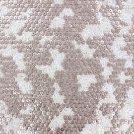Tissu Dentelle brodée à paillettes Shanghai Kiss Cuivre x 10cm