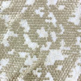 Tissu Dentelle brodée à paillettes Shanghai Kiss Or x 10cm