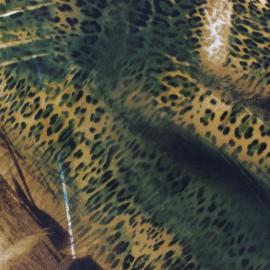 Tissu Royal Micro Satin Léopard Vert x  50cm