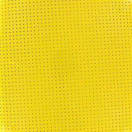 Tissu vinyl laqué perforé jaune x 10cm
