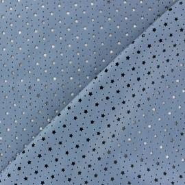 Simili cuir souple ajouré Stars bleuet x 10cm