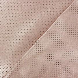 Simili cuir souple ajouré Little dots rose métallisé  x 10cm