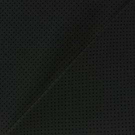 Simili cuir souple ajouré Little dots noir x 10cm