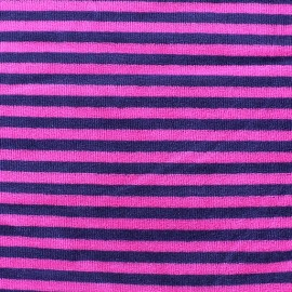 Tissu Velours éponge jersey petites rayures violet/fuchsia x 10cm