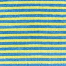 Tissu Velours éponge petites rayures anis/bleu x 10cm