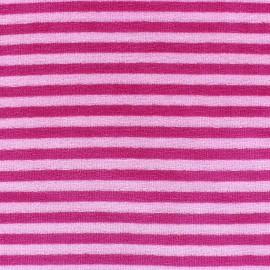 Tissu Velours éponge jersey petites rayures fuchsia/rose x 10cm