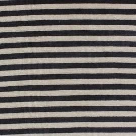 Tissu Velours éponge jersey petites rayures noir/beige x 10cm