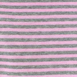 Tissu Velours éponge jersey petites rayures rose/gris x 10cm