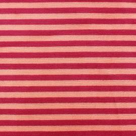 Tissu Velours éponge jersey petites rayures rouge/orange x 10cm