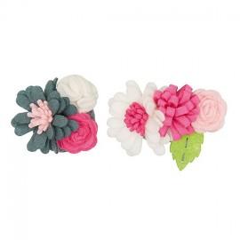 Kit broche Bouquet de Fleurs gris / rose