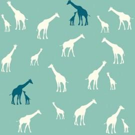 Tissu coton Giraffe Farm Teal x 10 cm