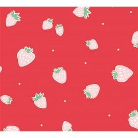 Tissu coton Strawberries Red x 10 cm