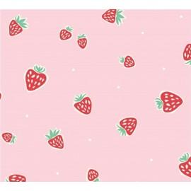 Tissu coton Strawberries Pink x 10 cm