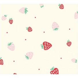 Tissu coton Strawberries Cream x 10 cm